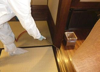 畳・マット・カーッペット等をのけて生息場所に残留散布